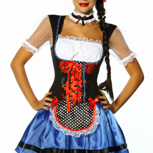 Blu Donna Dirndl 12108 Bavarese Bianco Vestitino Nero Costume Tipico nOm8Nvw0