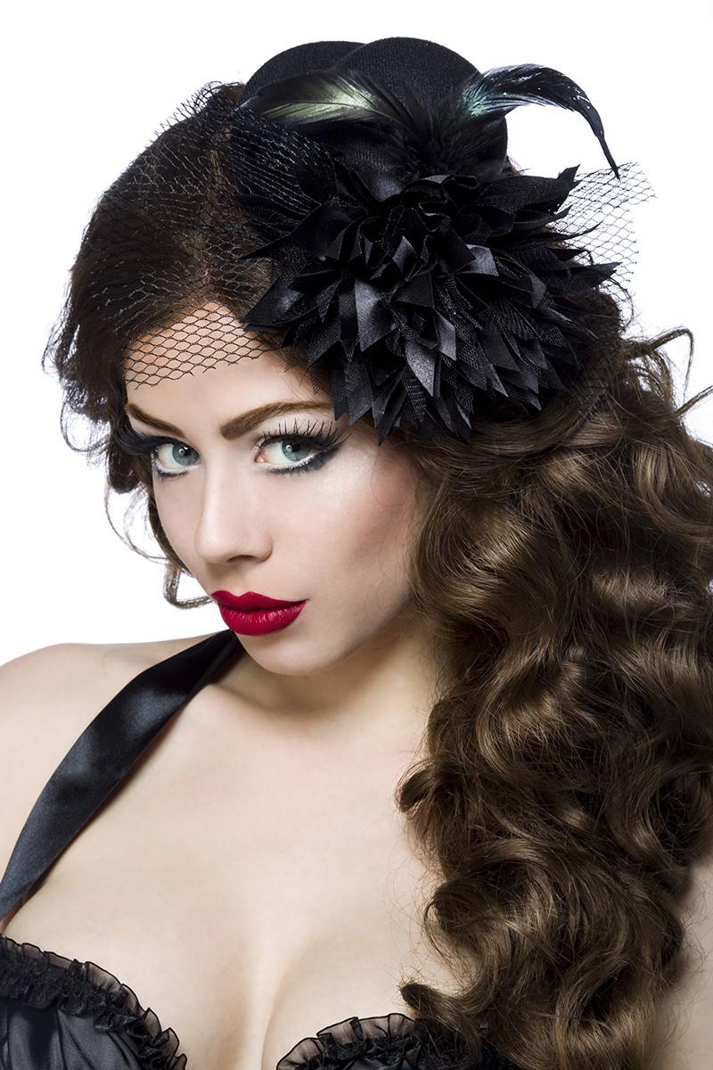 Mini donna cappello fascinator con tulle e piume nero-12338