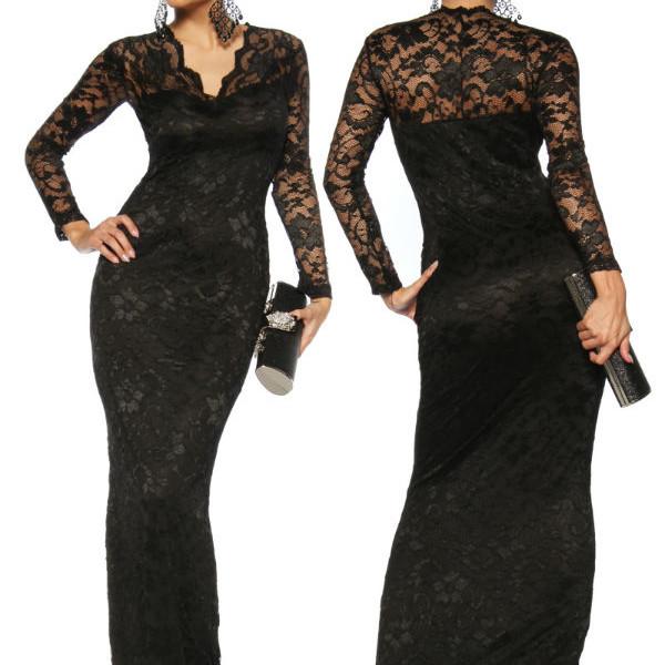 more photos f70ad 73376 Abito donna da sera con pizzo vestito lungo elegante nero-13105