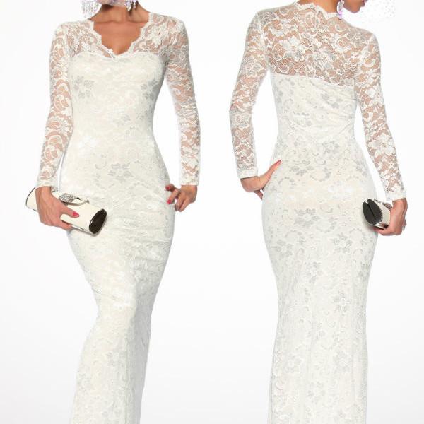 best sneakers 1d430 70299 Abito donna da sera con pizzo vestito lungo elegante bianco-13105