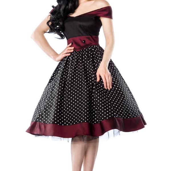 più recente 8ad8c 16d20 Rockabilly donna Dress vestito vintage gonna larga nero bordeaux-13141