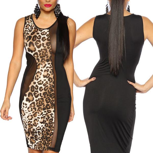 Sexy Donna Leopardato Tubino Trasparente 13214 Vestito Vestitino 65qRwx8