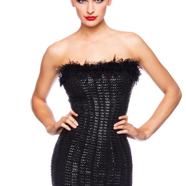 big sale 2bf8e 5c287 Mini vestitino scollato vestito tubino nero-13514
